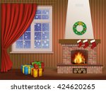 christmas interior with a... | Shutterstock .eps vector #424620265