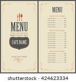 menu for the restaurant in... | Shutterstock .eps vector #424623334