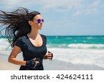 young beautiful brunette woman... | Shutterstock . vector #424624111