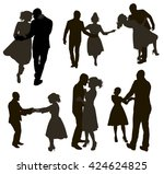 dancing people silhouettes set | Shutterstock .eps vector #424624825