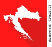 croatia white map border flat... | Shutterstock .eps vector #424625725