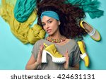 high fashion look glamour... | Shutterstock . vector #424631131