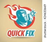 electric welder  fireball.... | Shutterstock .eps vector #424633669