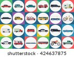city transport set. taxi bus... | Shutterstock .eps vector #424637875