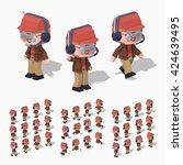 cartoon pilot minifigure. 3d... | Shutterstock .eps vector #424639495