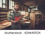 carpenter doing his job in... | Shutterstock . vector #424640524