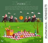 outdoor picnic in mountains... | Shutterstock .eps vector #424643275