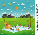 outdoor picnic in mountains... | Shutterstock .eps vector #424643305