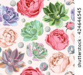 seamless succulent and peony... | Shutterstock .eps vector #424646545