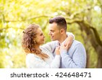 young couple walking  hyde park ... | Shutterstock . vector #424648471