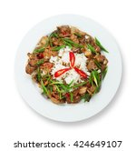 Small photo of Tasty chicken liver stewed with mushrooms served with white rice. Restaurant food. Offal Food top view isolated at white background. Restaurant meal, healthy dish.