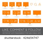 vector like  follower  comment... | Shutterstock .eps vector #424654747