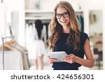 modern businesswoman. beautiful ... | Shutterstock . vector #424656301