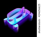 travel icon  3d neon glowing... | Shutterstock .eps vector #424656625