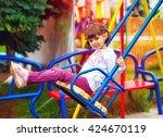 cute happy girl  kid having fun ...   Shutterstock . vector #424670119