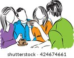friends together coffee time... | Shutterstock .eps vector #424674661