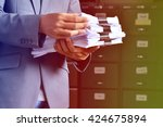 document management businessman ... | Shutterstock . vector #424675894