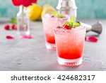 Stock photo raspberry crushed ice cold refreshing cocktail with mint 424682317