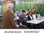 group of students study with... | Shutterstock . vector #424690567