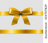 golden bow isolated  isolated... | Shutterstock .eps vector #424707829