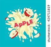 fresh apple fruit juice splash   Shutterstock .eps vector #424711819
