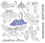 hand drawn set with silk moth ... | Shutterstock .eps vector #424712545