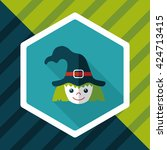 cute witch flat icon with long...   Shutterstock .eps vector #424713415