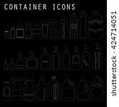 white lined pattern bottle icon ... | Shutterstock .eps vector #424714051