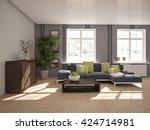 living room interior  3d...   Shutterstock . vector #424714981