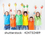 group of multiracial funny...   Shutterstock . vector #424732489