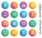 travel flat contour icons on... | Shutterstock .eps vector #424740889