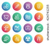 medicine flat contour icons on...   Shutterstock .eps vector #424741255