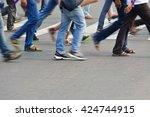 pedestrian are crossing in... | Shutterstock . vector #424744915