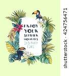 illustration tropical floral... | Shutterstock . vector #424756471
