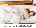 mornings people concept. sleepy ... | Shutterstock . vector #424762441