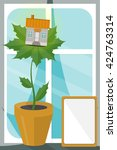 house on leaves. concept of eco ... | Shutterstock .eps vector #424763314
