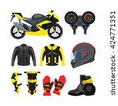 vector set of motorcycle... | Shutterstock .eps vector #424771351