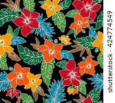 tropical flower pattern | Shutterstock .eps vector #424774549