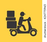 delivery moped icon | Shutterstock . vector #424775965