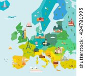 map of europe. travel and... | Shutterstock . vector #424781995