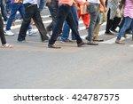 pedestrian are crossing in... | Shutterstock . vector #424787575