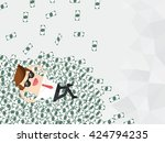 businessman lying down with... | Shutterstock .eps vector #424794235