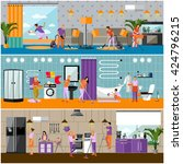 vector set of cleaning service... | Shutterstock .eps vector #424796215