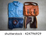 men's casual outfits with man... | Shutterstock . vector #424796929