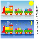 two trains with presents | Shutterstock .eps vector #42480223