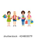 shopping women with shopping... | Shutterstock .eps vector #424803079