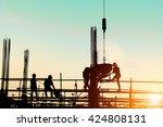 silhouette people heavy...   Shutterstock . vector #424808131