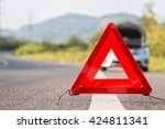 red emergency stop sign and... | Shutterstock . vector #424811341