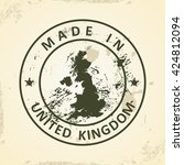 grunge stamp with map of united ... | Shutterstock .eps vector #424812094