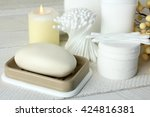 personal hygiene items with... | Shutterstock . vector #424816381